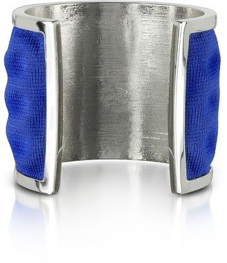 Palladium Avril 8790 Plated Brass and Electric Blue Viscose Bangle