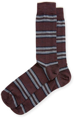 Neiman Marcus Mirror-Striped Wool Socks