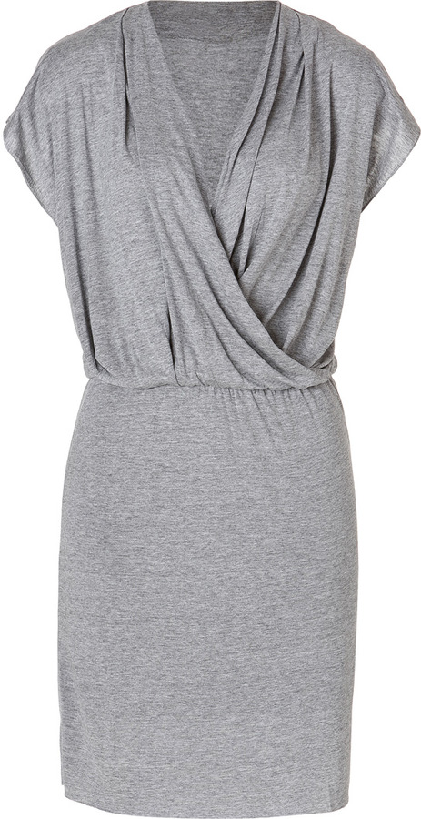 American Vintage Jersey Wrapover Dress in Grey Heather