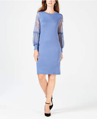 NY Collection Petite Lace-Sleeve Sweater Dress