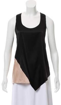 Ramy Brook Sleeveless Silk Color-Block Top