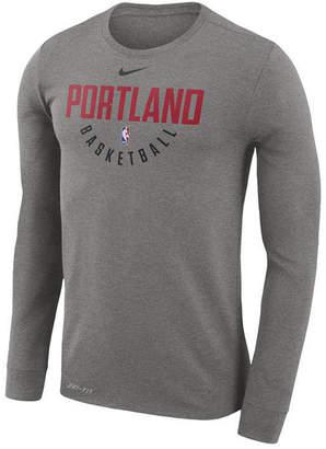 Nike Men's Portland Trail Blazers Dri-fit Cotton Practice Long Sleeve T-Shirt