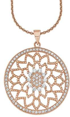 Amor Women's Chain with Pendant 925 Sterling Silver Gold-Plated Partly Gold-Plated Zirconia White Round 70 cm – 2016676