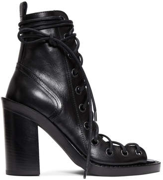 Ann Demeulemeester Black Lace-Up Heeled Sandals