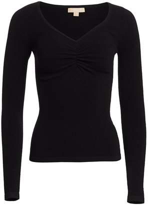 Michael Kors Ruched V-Neck Cashmere Sweater