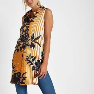 River Island Womens Orange floral sleeveless longline shirt