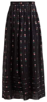 Gucci Geometric Fil Coupe Crepe Skirt - Womens - Black Multi