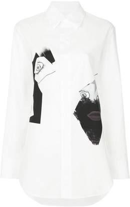 Yohji Yamamoto face collage print shirt