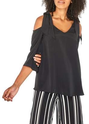 Dorothy Perkins Black 3/4 Sleeve Cold Shoulder Top