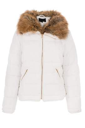 Quiz White Padded Faux Fur Collar Zip Jacket