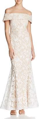 Eliza J Off-the-Shoulder Sequined Gown