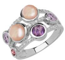 Lord & Taylor Sterling Silver Fresh Water Pearl Diamond Ring with Amethyst and Pink Tourmaline