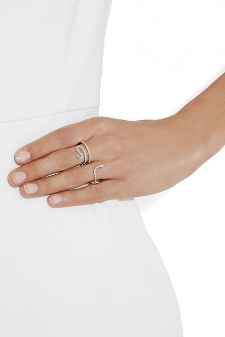 Ileana Makri Python 18-karat white gold, diamond and tsavorite double ring