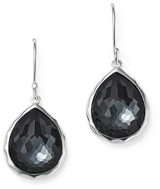 Ippolita Sterling Silver Wonderland Hematite and Clear Quartz Doublet Mini Teardrop Earrings