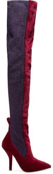 Fendi - Rockoko Velvet And Metallic Ribbed-knit Thigh Boots - Burgundy