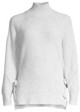 Rebecca Taylor Ribbed Turtleneck Side Tie Sweater