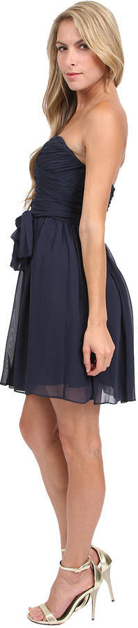 Jill Stuart Jill Strapless Chiffon Wrap Dress in Midnight