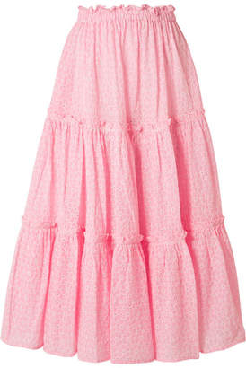 Lisa Marie Fernandez Ruffled Broderie Anglaise Cotton Midi Skirt - Baby pink