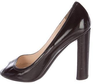 pradaPrada Patent Leather Peep-Toe Pumps