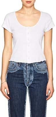 Frame Women's Cotton Button-Front T-Shirt - White Size L