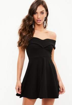 Missguided Black Wrap Bardot Skater Dress