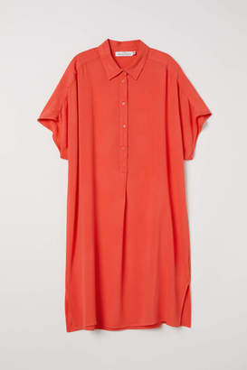 H&M Creped Shirt Dress - Orange - Women