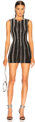 Balmain Striped Sequin Sleeveless Mini Dress