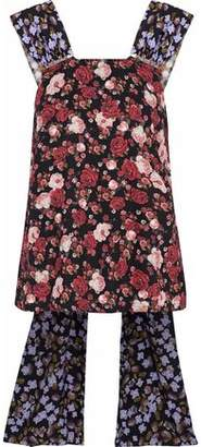 Mother of Pearl Open-Back Embellished Floral-Print Twill Top