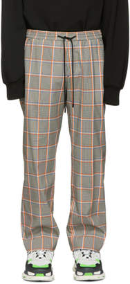 Juun.J Grey and Orange Plaid Trousers