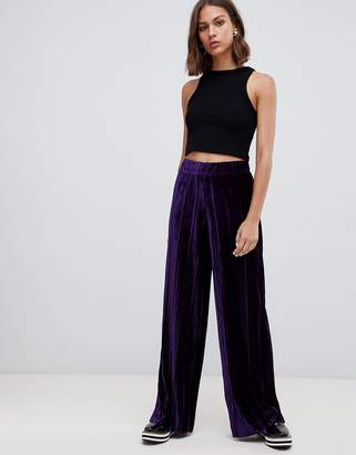 B.young velvet plisse wide leg trousers