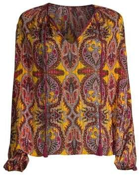 Etro Drawstring Damask Print Silk Blouse