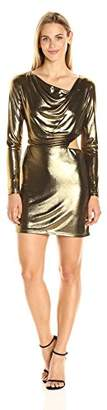 Halston Women's Long Sleeve Cowl Neck Metallic Jersey Dress with Cut Out