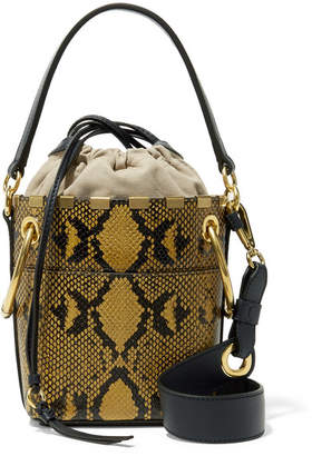 Chloé Roy Mini Snake-effect Leather Bucket Bag - Snake print