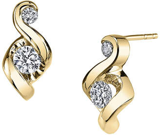 Sirena Juno Lucina 1/5 CT. T.W. Diamond 14K Yellow Gold Swirl Stud Earrings