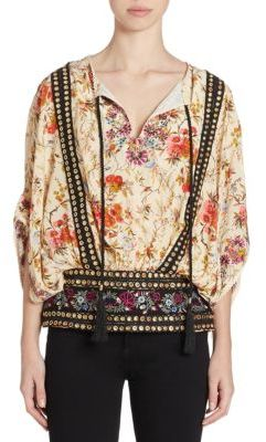 The Kooples Embroidered Grommet Floral-Print Top $285 thestylecure.com