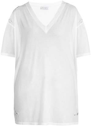 Raey Distressed V-neck cotton-jersey T-shirt