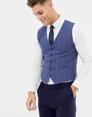 Selected Skinny Wedding Vest In Blue Check