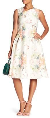 Eva Franco Hiroki Asymmetrical Neckline Jacquard Dress
