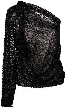 Alexandre Vauthier one-shoulder sleeved sheer dress