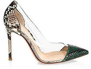 Gianvito Rossi Women's Plexi Two-Tone Snakeskin-Embossed Leather & PVC Pumps