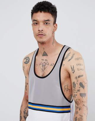 Asos DESIGN extreme racer back tank in polytricot with contrast yolk and taping in gray