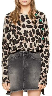 Zadig & Voltaire Justy Leopard-Print Button-Detail Cashmere Sweater