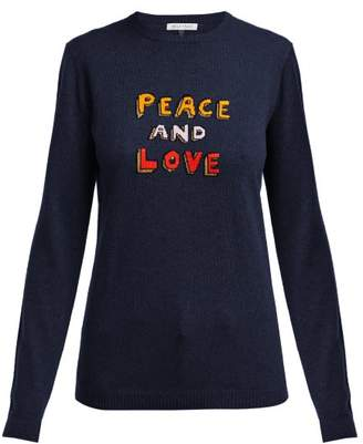 Bella Freud Peace And Love Cashmere Blend Sweater - Womens - Navy Multi