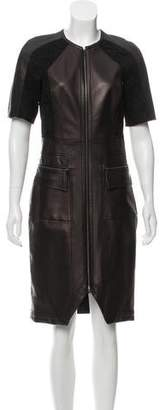 J. Mendel Lace-Accented Leather Dress w/ Tags