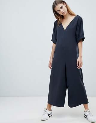 Asos Design DESIGN Minimal Short Sleeve Strap Back Jumpsuit
