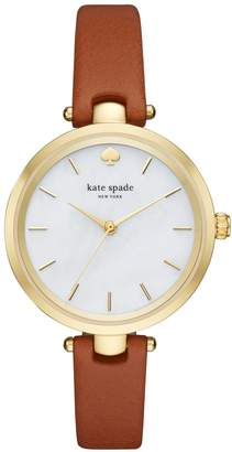 Kate Spade 'holland' Round Leather Strap Watch, 34mm