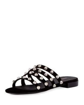 Balenciaga Studded Suede Slide Flat Sandal, Noir/Silver