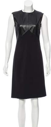 Magaschoni Leather-Accented Knee-Length Dress
