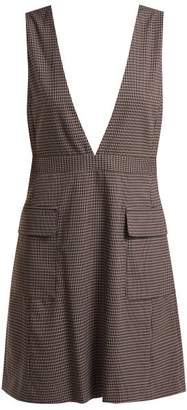 See by Chloe Checked Crepe Pinafore Dress - Womens - Navy Multi