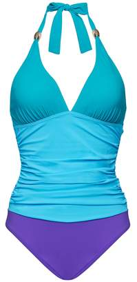 e90f76a56f39f at Next · Next Womens Figleaves Blue Colourblock Underwired Halter Swimsuit